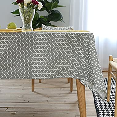 ColorBird Geometric Series Tablecloth Arrow Pattern Cotton Linen Dust-proof Table Cover for Kitchen Dinning Tabletop Linen Decor (Rectangle/Oblong, 55 x 70 Inch, Grey)