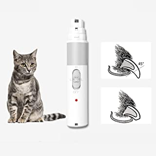 Electric Pet Grinder Cat Nail Paws Clipper Trimmer 2 Speed 3 Sanding Ports Painless Cats Small Dogs Claw Care Paws Shaping Smoothing Nail Grooming For Small Dogs Home Cats USB Rechargeable