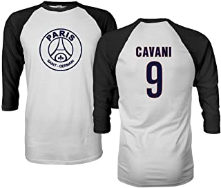 Paris Soccer Shirt #9 Cavani Men's Quarter Sleeve Raglan T-Shirt