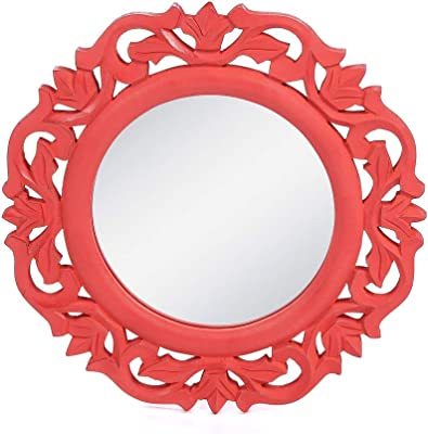 """The Urban Store Wood Hand Crafted Wall Mirror for Living Room, 14""""X14"""" (Red)"""
