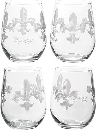featured product Mignon Faget Fleur de Lis Stemless Wine Glasses,  Set of 4
