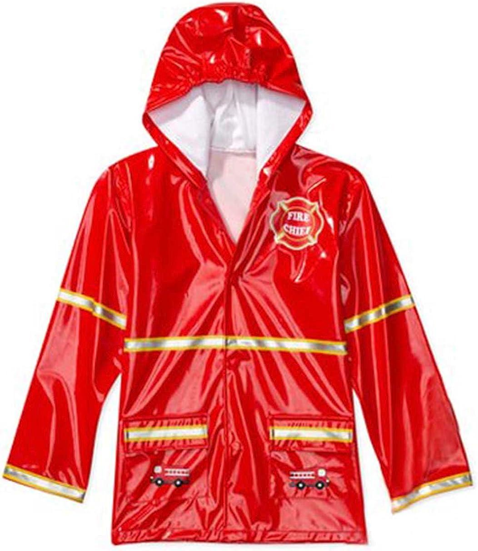 Puddle Play Little Boys' Red Fireman Waterproof Outwear Hooded Rain Coat - Toddler