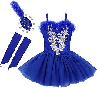 Kaerm Kids Girls Spaghetti Shoulder Straps Sequins Beads Ballet Tutu Skirt with Fingerless Gloves Hair Clip Set