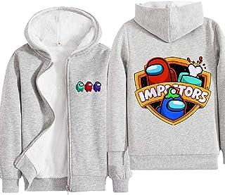 LIGHTOP Among US - Sudadera infantil con capucha, color gris y negro, con personajes, ideal como regalo de cumpleaños para...