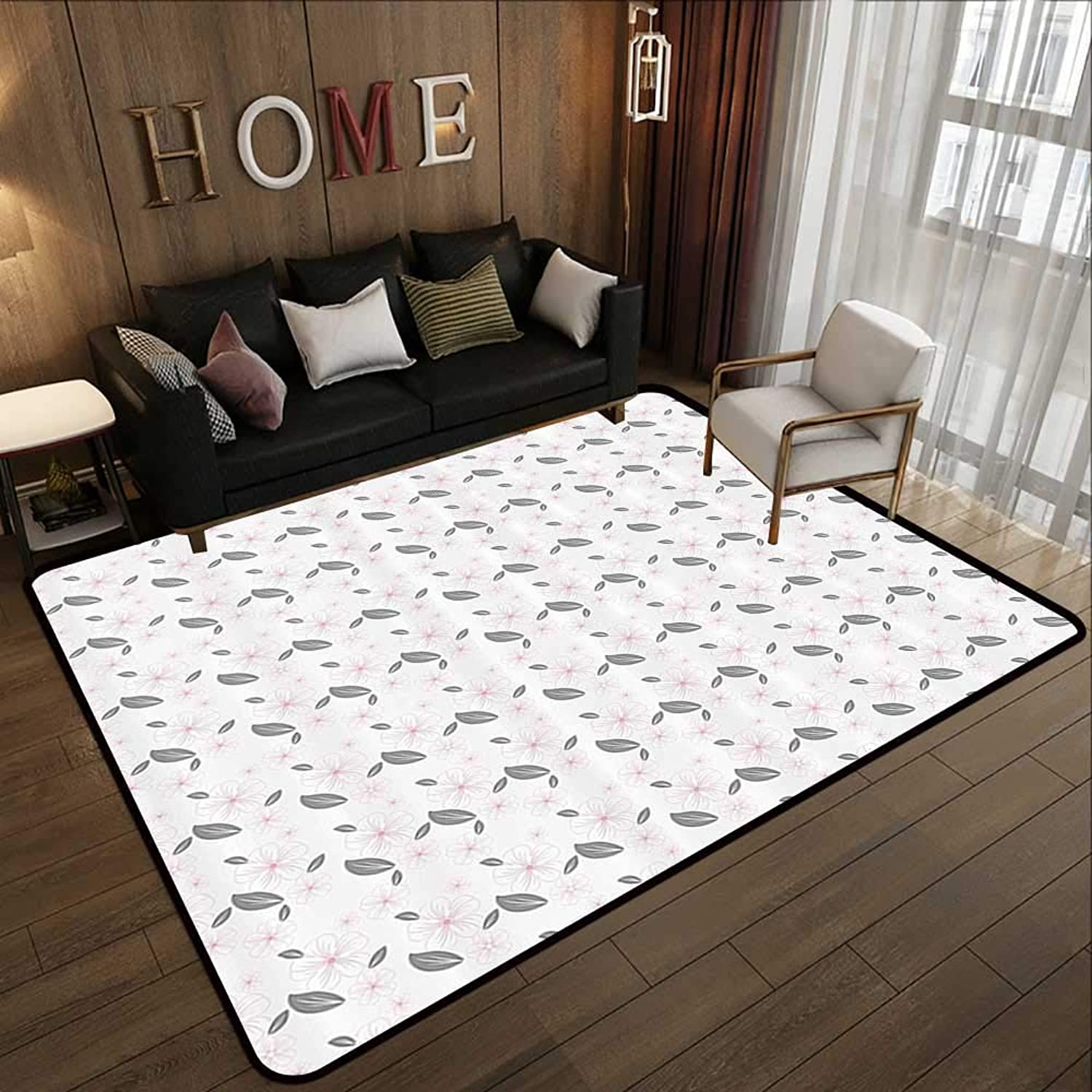 Kids Rugs,Floral,Big Spring Flowers and Leaves Nature Inspired Garden Pattern Artwork,Light Grey Grey Light Pink 71 x 81.5  Slip-Resistant Washable Entrance Doormat