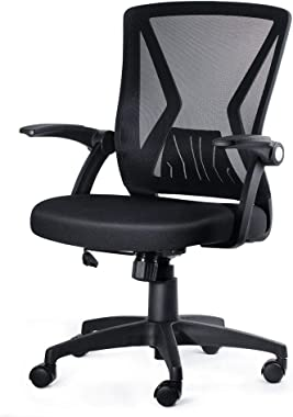 KOLLIEE Mid Back Mesh Office Chair Ergonomic Swivel Black Mesh Computer Chair Flip Up Arms With Lumbar Support Adjustable Hei
