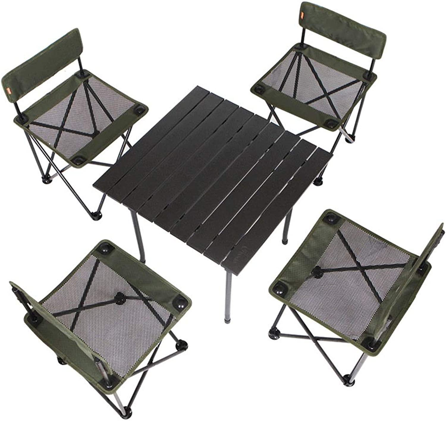 HAIZHEN table Folding Table Chair Set (5pc), Aluminum Alloy SelfDriving Car Picnic Camping Home Dormitory Balcony