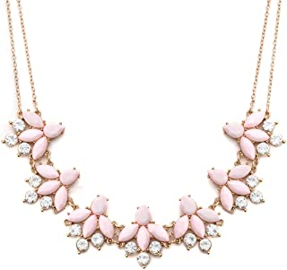 Crystal Flower Collar Necklace for Women Chunky Rhinestone Floral Bib Statement Choker Necklace