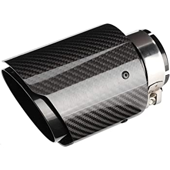 Rolled Edge 4inches Outlet 101mm SORMOR Glossy Carbon Fiber Muffler Pipes Exhaust Tips with Mirror Polishing Stainless Steel 2.5inches Inlet 63mm