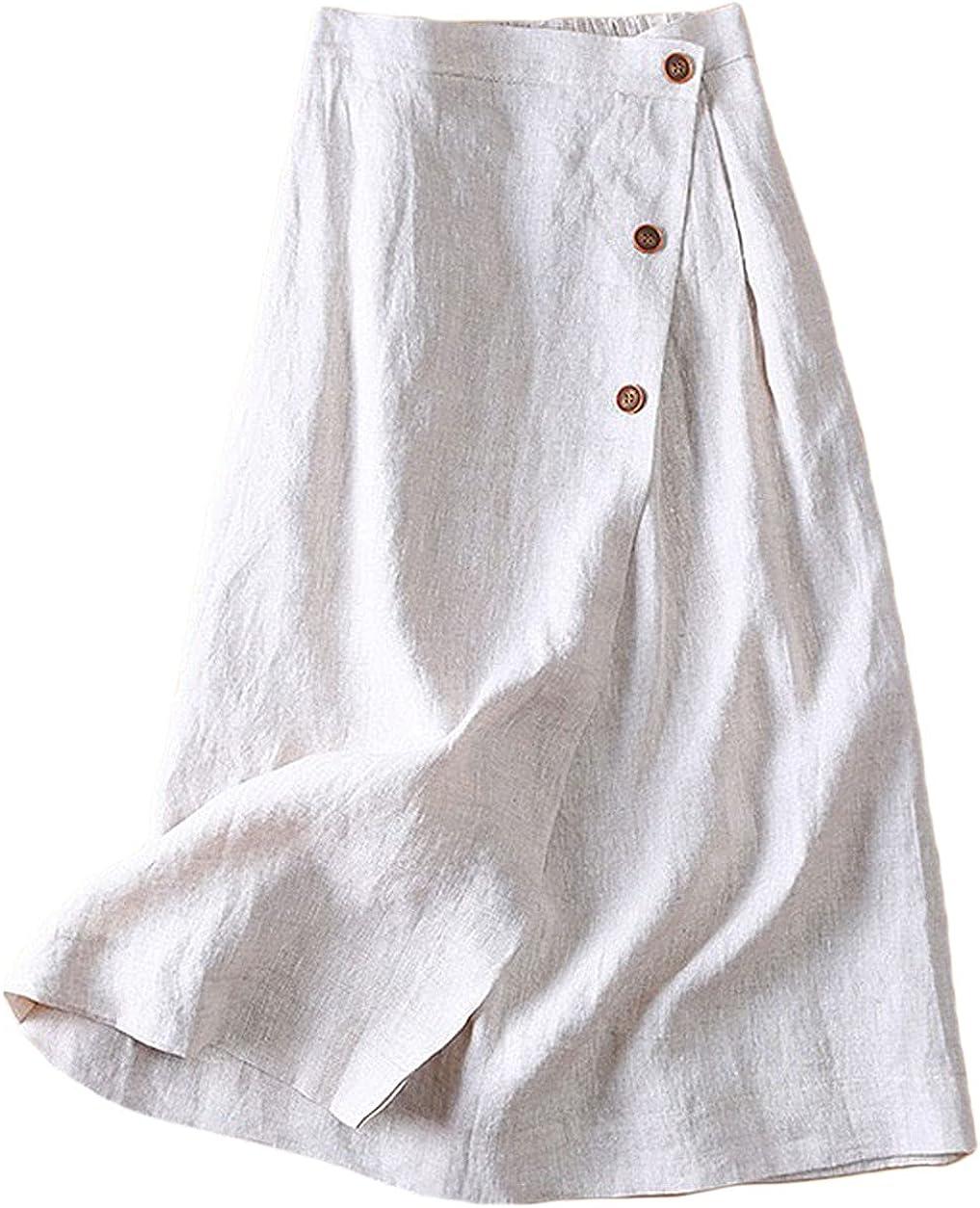 CHARTOU Women's Summer Linen Cotton Elastic Back Buttoned Swing Midi A Line Skirt