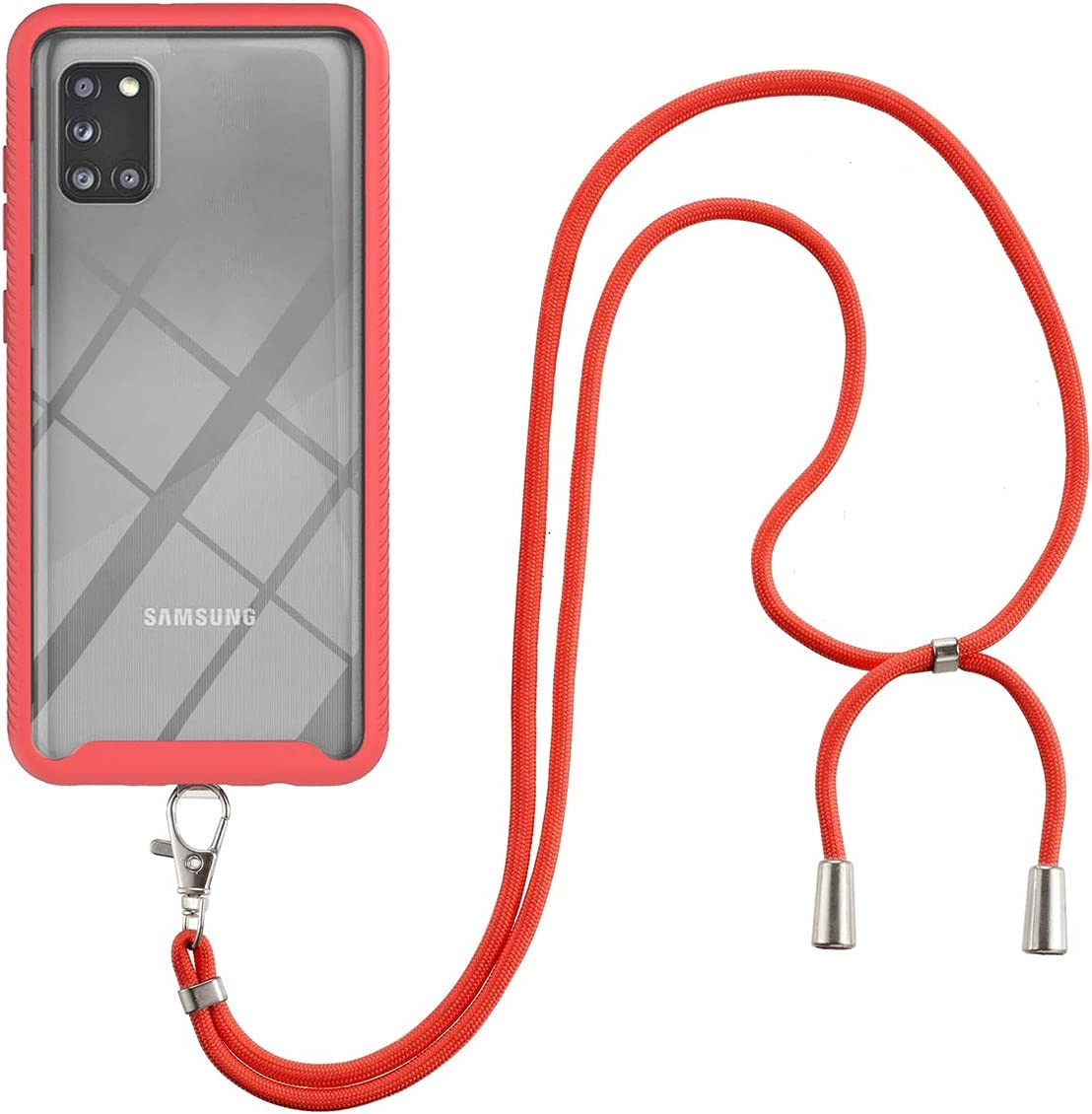 Galaxy A31 Case, Gift_Source Slim Shockproof Crossbody Case 2 in 1 Soft Silicone Bumper and Clear Hard PC Back Cover Shell with Adjustable Lanyard Neck Strap for Samsung Galaxy A31 (6.4