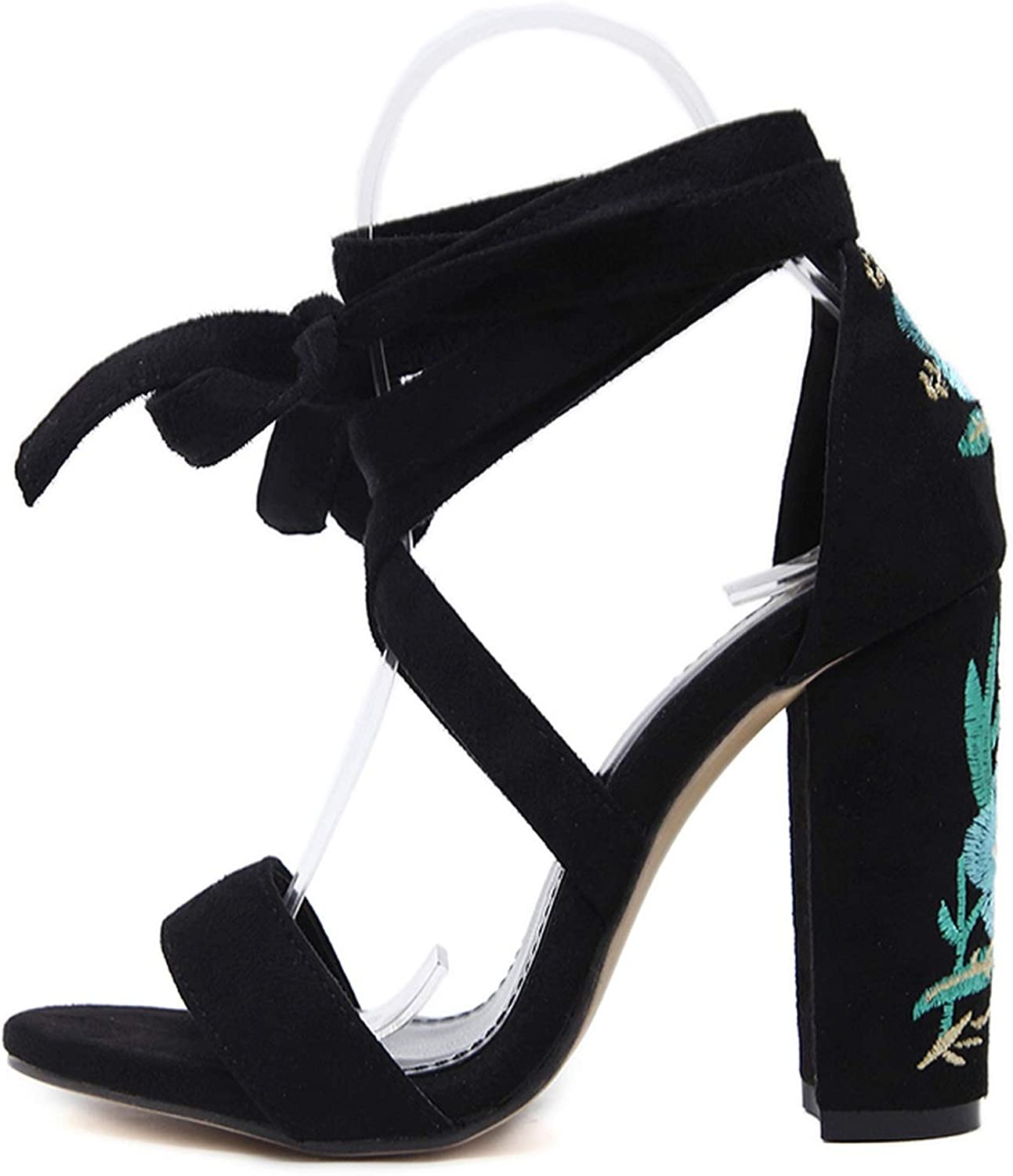 FanRen Sandals High Heels shoes Embroider Ankle Strap Thick Heels Wedding Party Lace Up shoes