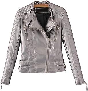Sentao Women Leather Jackets Slim Fit Lapel Zip Up Short Biker Jackets PU Jacket Outwear