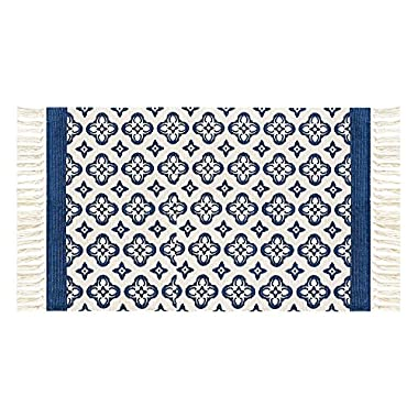 Cotton Handwoven Tassel Breathable Floor Mat/ Area Rug by Freelove,Table Covers,Sofa Slipcovers,Chair Pads for Kitchen, Living Room, Bedroom, Bathroom, Office (2' by 4' 4'', Deep Blue Lilac)