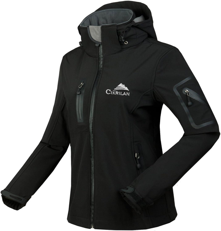 CIKRILAN Women's Soft Shell Windproof Outdoor Fleece Lined Jacket Ladies Coat (Black, XLarge)