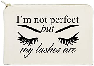 I'm Not Perfect But My Lashes Are 12 oz Cosmetic Makeup Cotton Canvas Bag - (Natural Canvas)