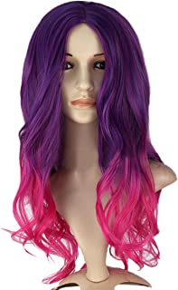 Angelaicos Women's Wavy Two Tone Party Costume Cosplay Wigs Long Purple Red