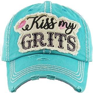 ScarvesMe KBETHOS Ladies Vintage Distressed Kiss My Grits Stitch Baseball Cap Hat