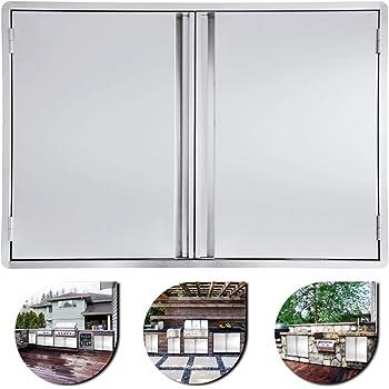 Mophorn Outdoor Kitchen Doors 30.5W x 21H Inch BBQ Access Double Door Brushed Stainless Steel Grill Door for Outdoor Kitchen BBQ Island