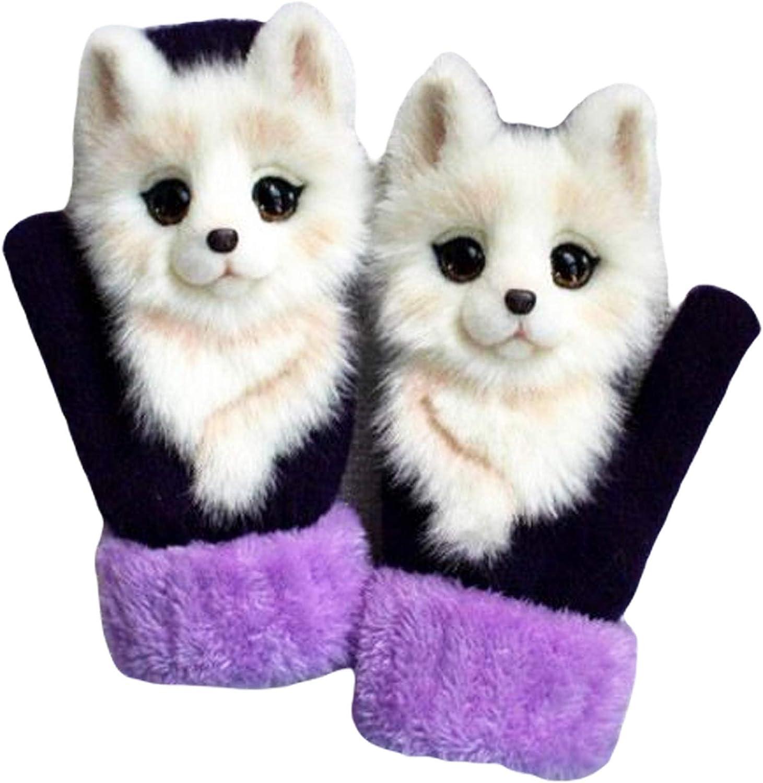Women's Cute Animal Plush Knit Gloves Winter Warm Handmade Furry Pet Doll Mittens Finger Gloves