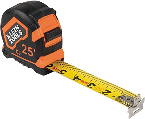Klein Tools 9225 Tape Measure, 25-Foot Double-Hook Double-Sided Measuring Tape, Magnetic with Retraction Speed Break ...