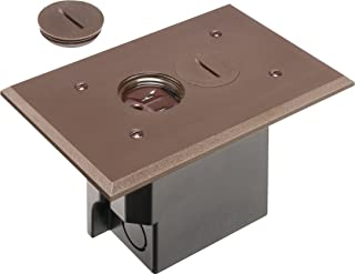 Arlington FLBR101BR Electrical Box Floor Kit with Outlet and Oversized Plastic Plate, 1-Gang, Brown