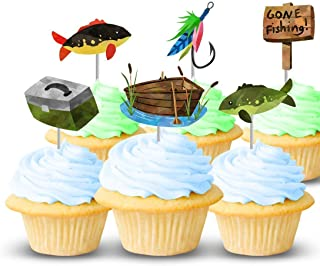 Fishing Cupcake Toppers, 12 Pack, Mens Birthday Party Decorations, Handmade in Texas