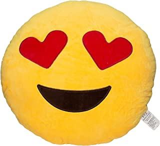 EvZ 32cm Emoji Smiley Emoticon Yellow Round Cushion Stuffed Plush Soft Pillow Toy