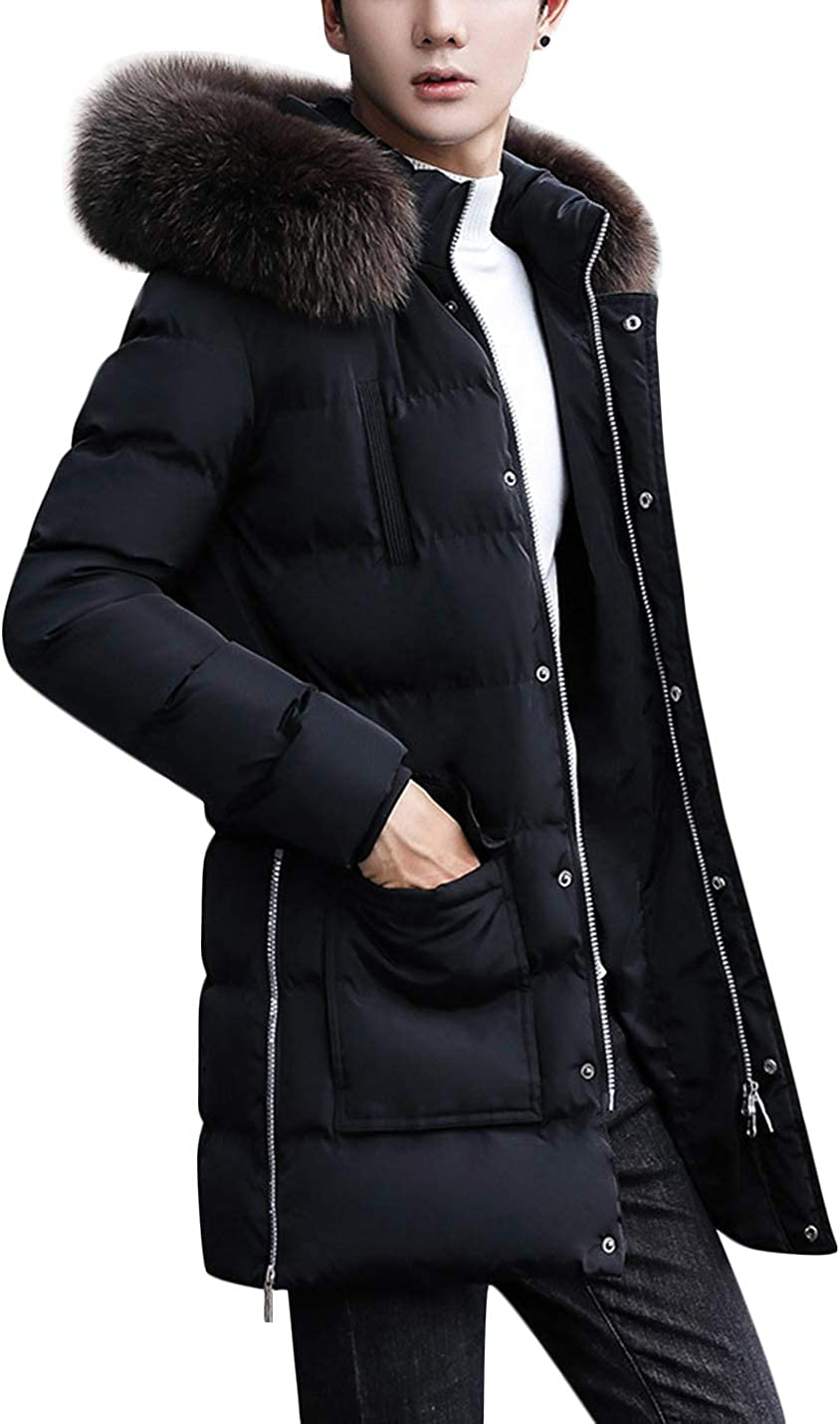 Springrain Men's Winter Fur Hood Quilted Padding Jacket Windbreaker Puffer Coat
