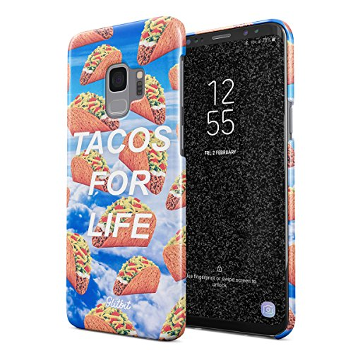 Glitbit Compatible with Samsung Galaxy S9 Case Feed Me Tacos for Life Taco Mexican Food Pattern Junk Fast Food Addict Lover Thin Design Durable Hard Shell Plastic Protective Case Cover