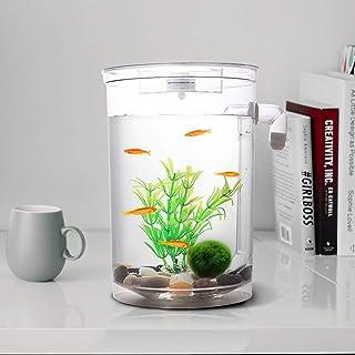 Home Aquarium Supplies Round Plastic Creative Ecological Desktop Mini Aquarium Gold Fish Bowl, Lazy Water Tank with Cobble...
