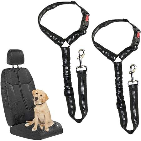 Hkbtch Hunde Sicherheitsgurt Universal Haustier Hund Katze Auto Sicherheitsgurt 2 Stück Einstellbar Hundegurt Sicherheitsgeschirr Hundeanschnallgurt Passend Für Alle Hunderassen Autotypen Haustier