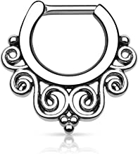 Pierced Owl Tribal Swirl Fan 14g or 16g Septum Clicker - Choose Gold Tone, Rose, Hematite, or Silver Tone