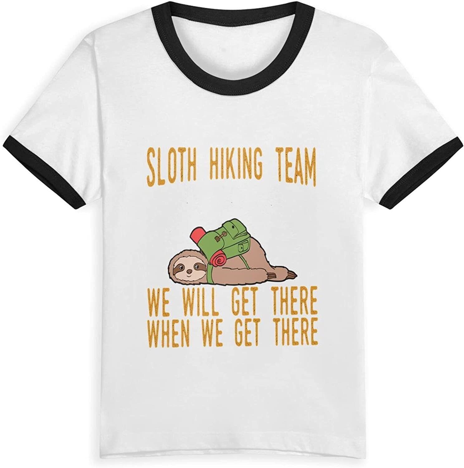 Sloth Hiking Team We Will Get There T-Shirts Novelty for Girls Tees with Cool Designs