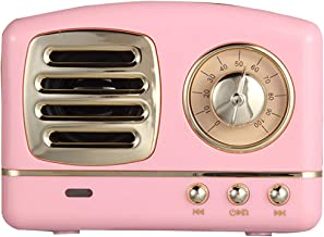 VANLAN Vintage Radio Retro Bluetooth Speaker Wireless Stereo Retro Speaker with Built-in Mic,USB Port TF Card Slot for Bedrooms Kitchen,Party Travel Outdoor for Android/iOS Devices(Pink)
