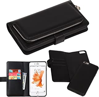 iPhone 6s Case, iPhone 6 Case, Premium Slim Wallet Zipper Clutch Leather Credit Card Holder Feature Purse Flip Type Removable Case - Detachable Magnetic Back Cover for iPhone6s / iPhone6