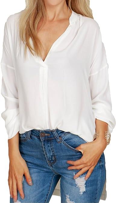 Blusa para Mujeres - Chifón Camisas Mujeres V Escote Manga ...