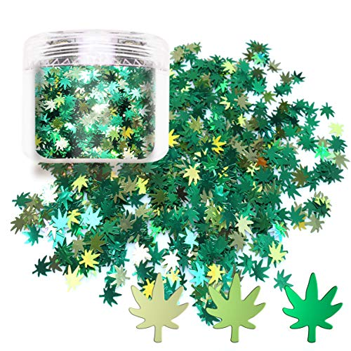 Laza Leaves Chunky Glitter Flakes Nail Art Sequin Pot Weed Leaf Shine Shaped Pomona Green Azure Green Mixed Iridescent Sparkle for DIY Craft Decoration Party Festival 10ml Jars - Emerald Apple Leaf