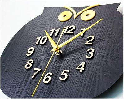掛け時計 壁掛け時計 かわいい動物木製の壁時計シンプルでモダンなデザインクリエイティブフクロウ時計牧歌的なレトロな木製の壁時計家の装飾12インチ 耐久性丈夫 無騒音静音 防塵 インテリアおしゃれ 部屋装飾 プレゼント は部屋、教室、ベッドルーム、バスルーム、リビング、オフィスに最適です