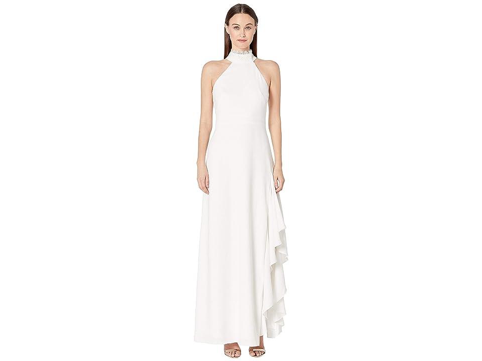ML Monique Lhuillier - ML Monique Lhuillier Crepe Gown w/ Lace Neck Detail