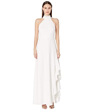 ML Monique Lhuillier Crepe Gown w/ Lace Neck Detail (White) Women