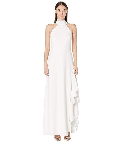 ML Monique Lhuillier Crepe Gown w/ Lace Neck Detail