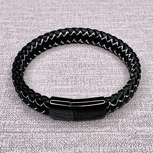 Jewellery Bracelets Bangle For Womens Punk Men Jewelry Braided Leather Bracelet Stainless Steel Fashion Bangles-White_1_Wearing_Length_165Mm