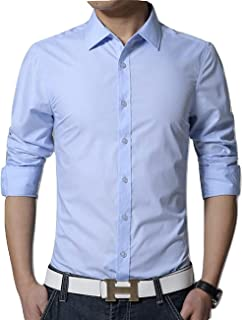 Men's Cotton Sky Blue Solid Full Sleeve Shirts