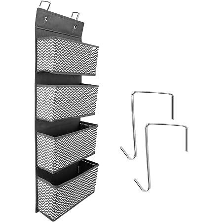 Navaris Estantería Colgante 4 Compartimentos para Ropa Zapatos - Organizador de Tela para Colgar en la Puerta o el Armario 33 x 9 x 92CM - Gris
