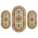 CARILLO - Juego de cama de 3 piezas de alfombras ovaladas Obama Art. Artemis P486