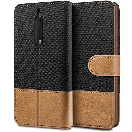BEZ Hülle für Nokia 5 Hülle, Handyhülle Kompatibel für Nokia 5, Handytasche Schutzhülle Tasche [Stoff & PU Leder] mit Kreditkartenhaltern, Schwarz