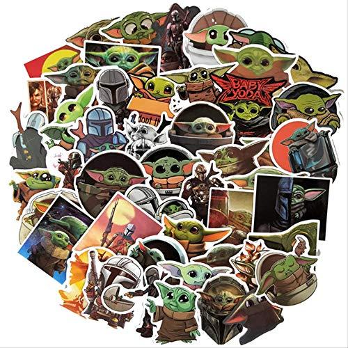 NOBRAND 50 Piezas De Dibujos Animados Star Wars Mandalorian Baby Yoda Toy Sticker Skateboard Maleta Guitarra Equipaje Niños Doodle Sticker (3-7 Cm)