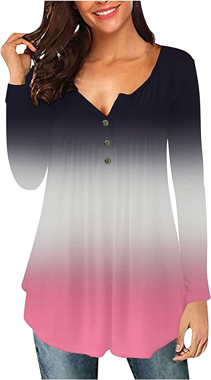 5665 Womens Long Kansas City Mall Sleeve Tunic Color Fashion Block Gradient Tops free
