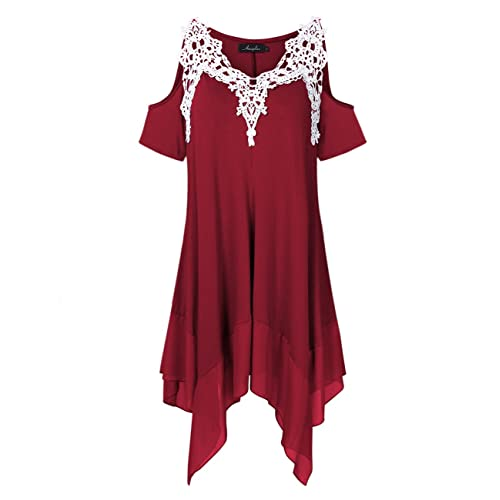 9a83fbae2ad2dd AMZ PLUS Women Crochet Lace Asymmetrical Cold Shoulder Plus Size Tunic Top